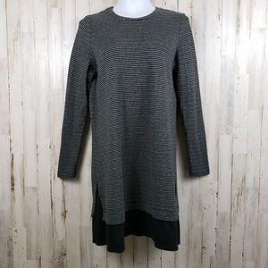 J. Jill Womens Dress Black White Striped Layered